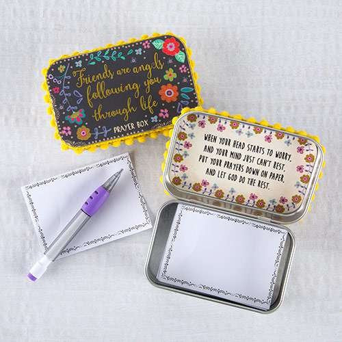 "Natural Life Black Floral Floral Frienship Angels Inspirational ""Friends are angels following you through life"" Memory Prayer Box"
