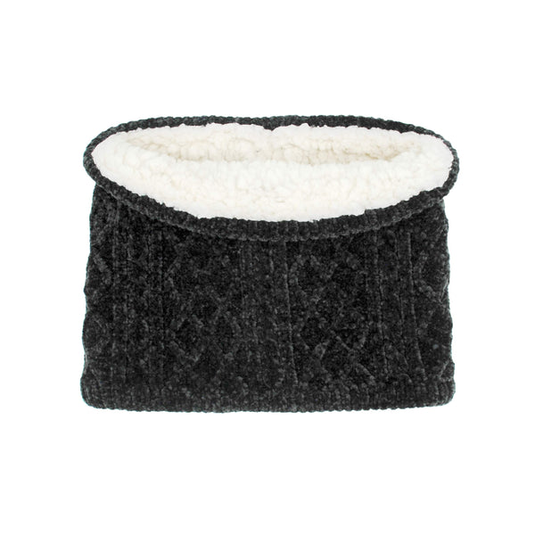 Pudus Cable Knit Winter Infinity Scarf, Fleece-Lined Neck Warmer Circle Snood Cable Knit Black Chenille