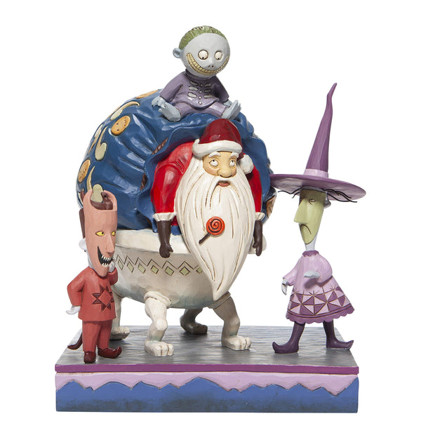 Enesco Disney Traditions By Jim Shore The Nightmare Before Christmas Lock, Shock and Barrel with Santa Figurine