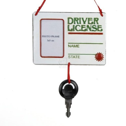 "Kurt Adler ""Drivers License"" With Key Picture Frame Hanging Ornament"