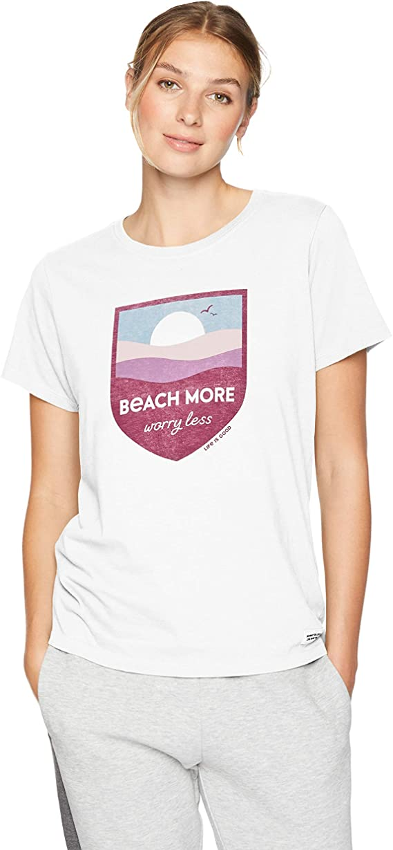 Life is Good Womens Beach/Ocean Graphic V-Neck T-Shirt, Beach Cloud White, Large