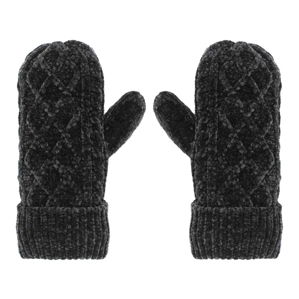 Pudus Chenille Cable Knit Winter Mittenss for Women, Fleece-Lined Warm Gloves Cable Knit Grey - Chenille