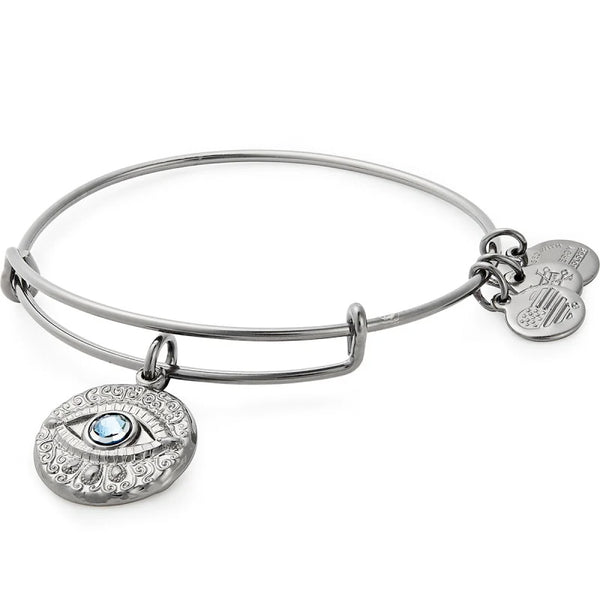 Alex and Ani Evil Eye Charm Bangle Midnight Silver