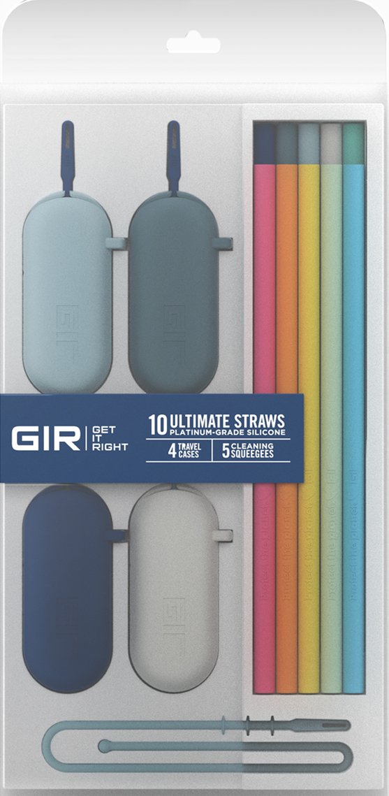 GIR Silicone Straw 10-Pack, Rainbow Set