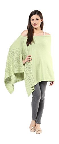 Darzi Pointelle Poncho, Blush Green