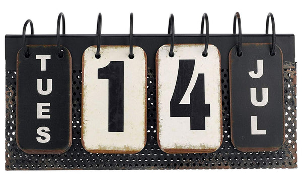 Grasslands Road Verdant Calendar Decor Vintage Perpetual Desk Calendar Metal Reproduction 10-3/4-in