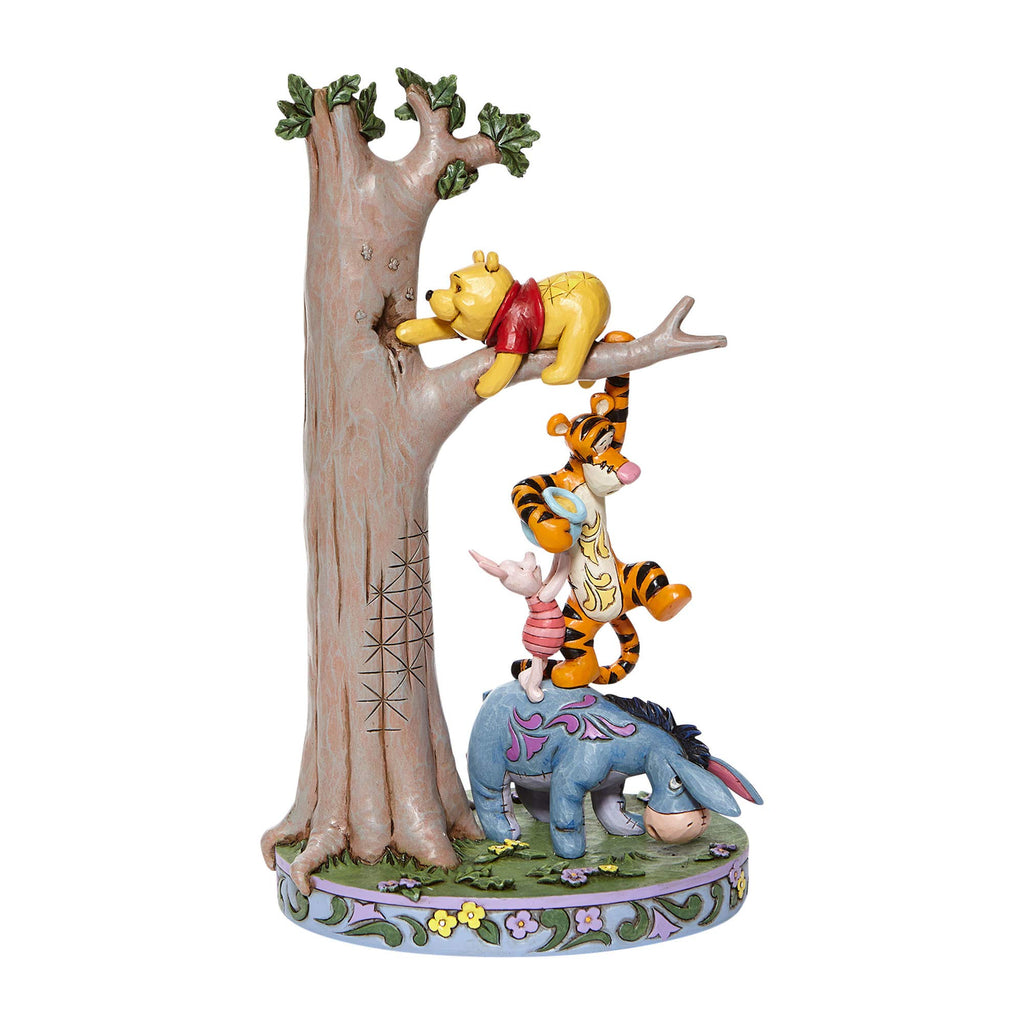 "Jim Shore Disney Traditions Pooh and Friends Stacked Tree Figurine 8.75"" H"
