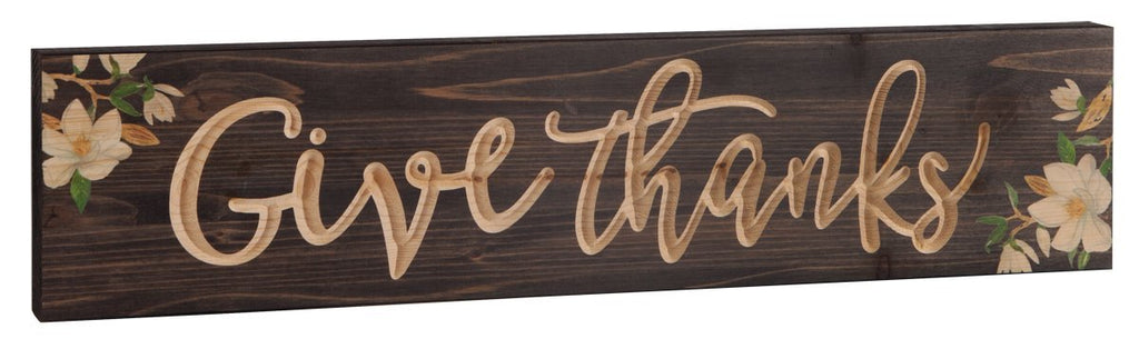 Give Thanks Magnolia Brown 23.75 x 5.5 Inch Pine Wood Carved Barnhouse Block Tabletop Sign