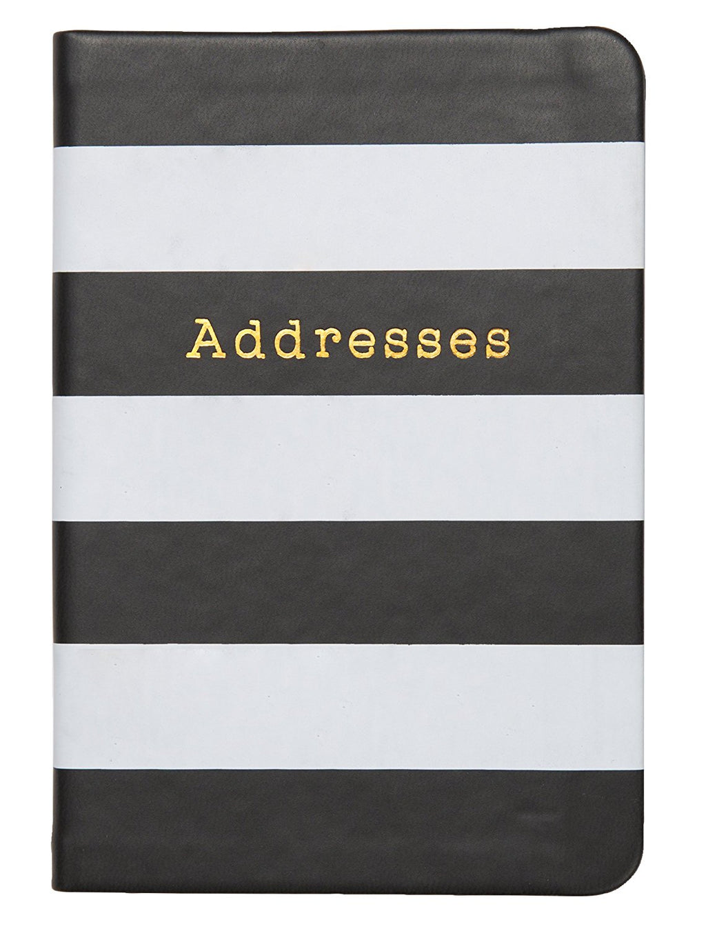 "C.R. Gibson Small Address Book, 192 Pages, Debossed Leatherette Cover, Storage Pocket, Monthly Pages, Measures 3.5"" x 5.5"" - Black & White Stripes"