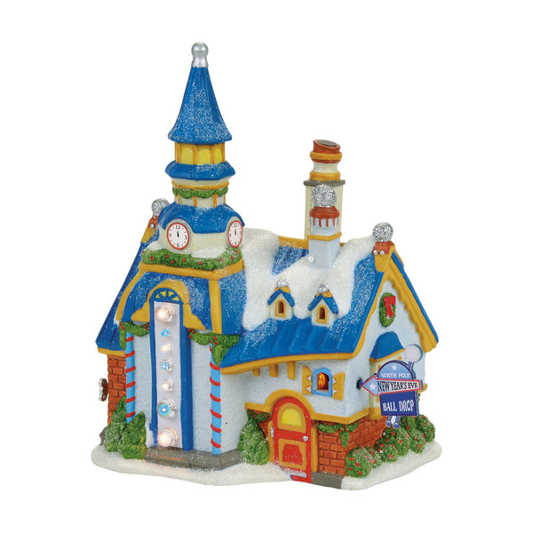Department 56 North Pole Village New Year's Eve Center Lit Building