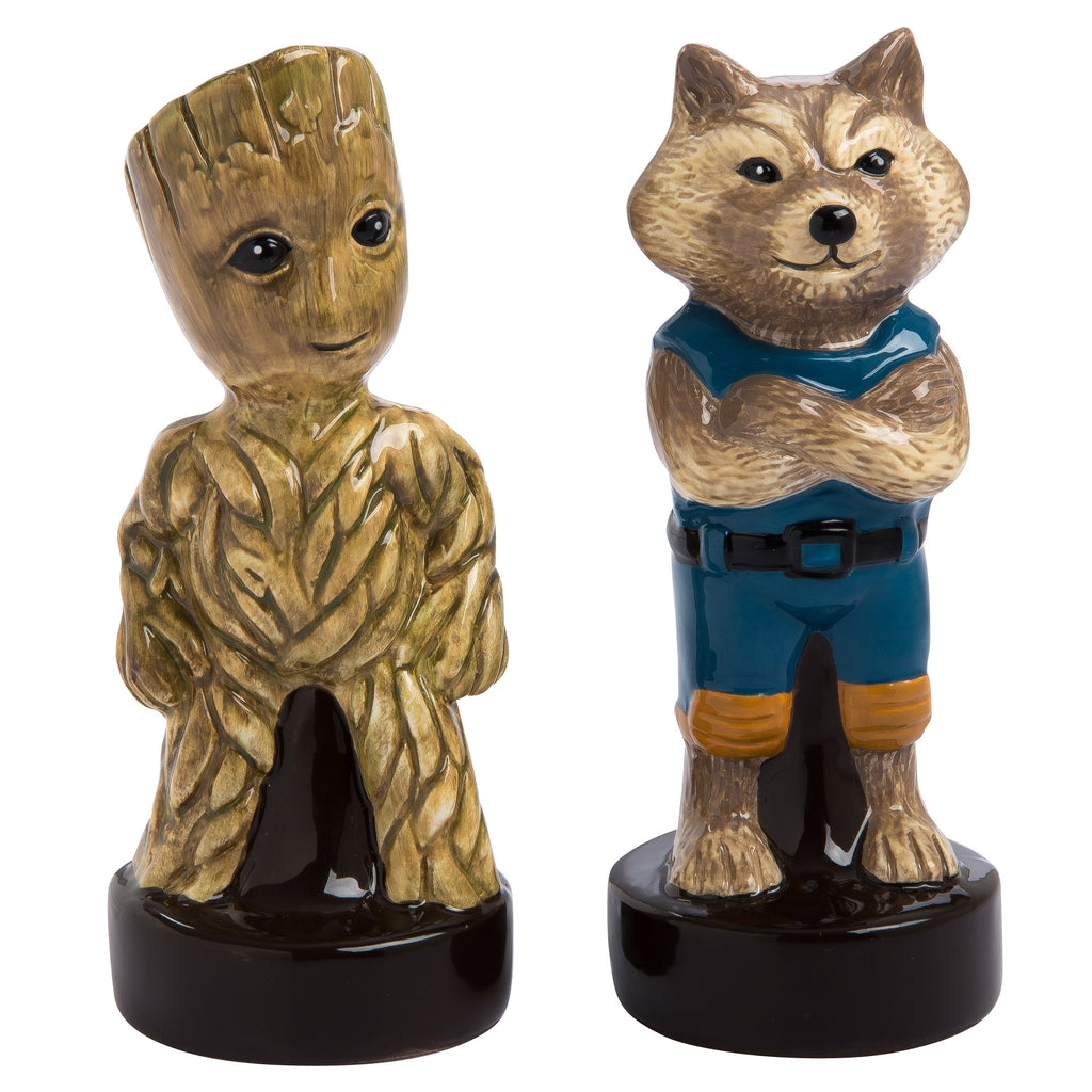 "Vandor Marvel Guardians of the Galaxy Groot and Rocket Sculpted Salt and Pepper Shaker Set, 2"" x 4"" x 2"""