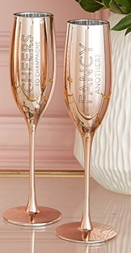 Two's Company Set of 2 Metallic Glass Champagne Flutes (Fancy/Cheers)