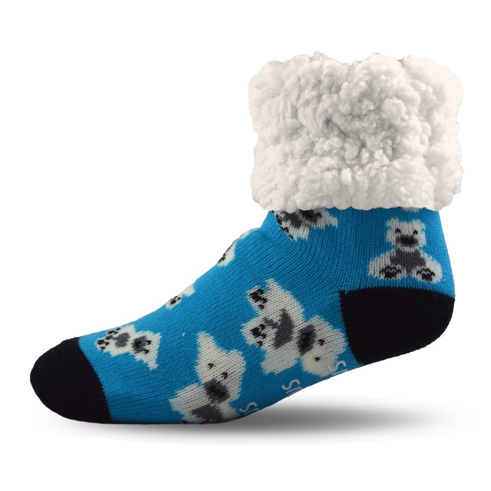 Pudus Cozy Holiday Winter Slipper Socks Women & Men w Non-Slip Grippers Faux Fur Sherpa Polar Bear Blue