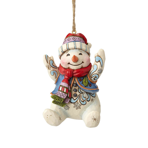 Enesco  Jim Shore Heartwood Creek Sitting Snowman Ornament