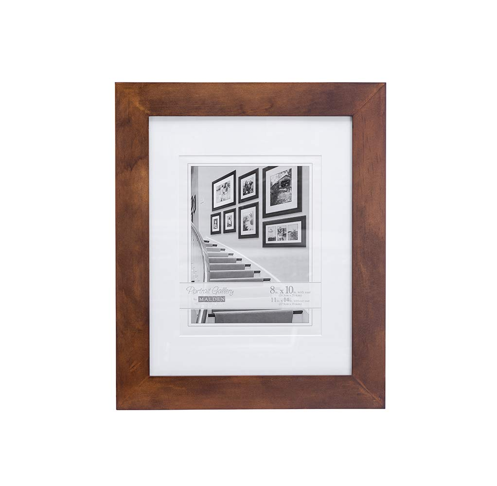 Malden Matted Picture Frame - Made to Display Pictures 8x10 with Mat, or 11x14 Without Mat - Walnut