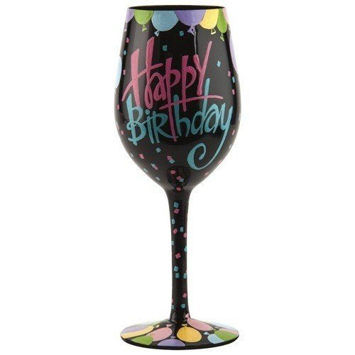 Lolita Happy Birthday Balloons Hand Painted Wine Glass