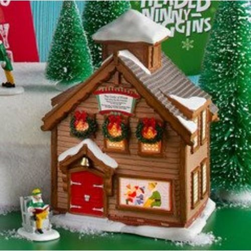 "Department 56 Elf The Movie Elf School Porcelain Lit House 8.11"" H"