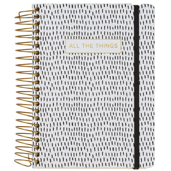 C.R. Gibson Black and White ''All The Things'' Three-In-One Blank, Lined, and Dot Grid Notebook, 6.25'' W x 8.3'' L, 480 Pages