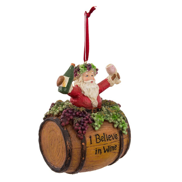 Kurt Adler Santa On Wine Barrel Hanging Ornament, 4""