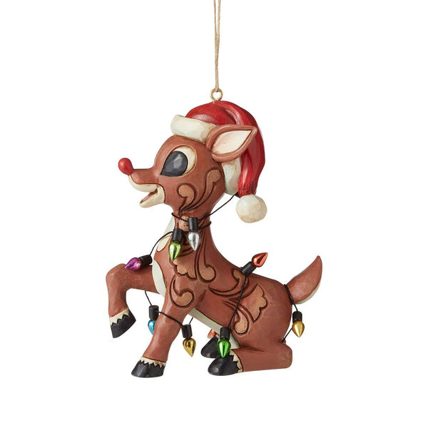 Enesco Rudolph Traditions by Jim Shore Rudolph Wrapped in Lights HO Figurine