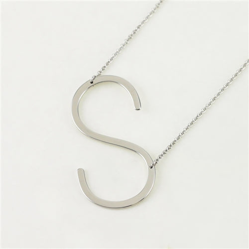 Cool And Interesting Silver Large Sideways Initial Necklace - S