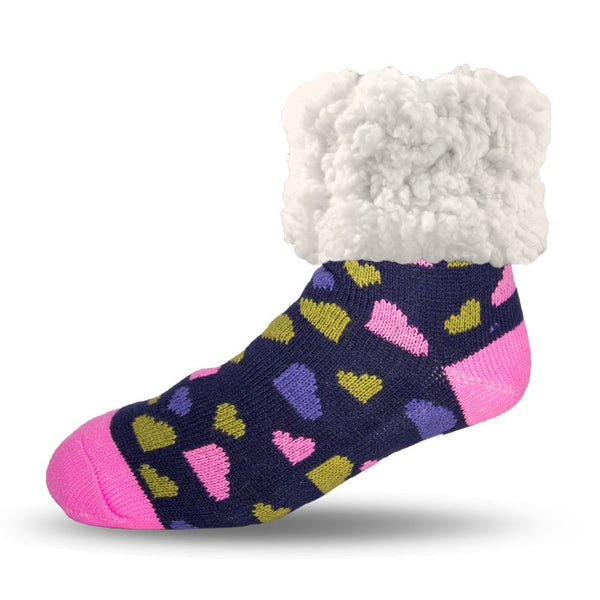 Pudus Cozy Winter Slipper Socks Women & Men w Non-Slip Grippers Faux Fur Sherpa Classics Heart Navy