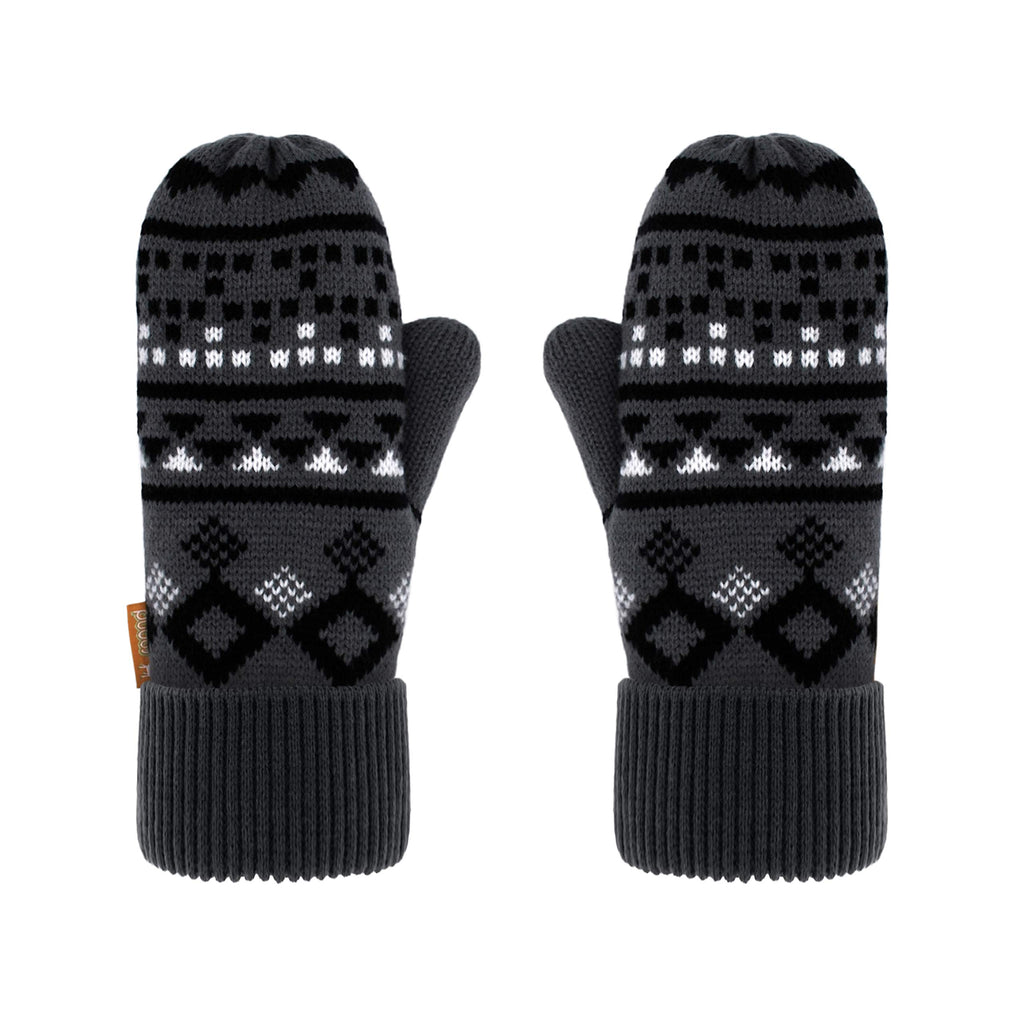 Pudus Chenille Cable Knit Winter Mittenss for Women, Fleece-Lined Warm Gloves Geometric Black