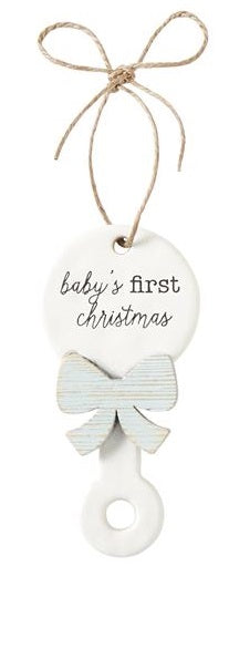 Mud Pie  Mud Pie Baby's First Christmas Rattle Blue Bow Ceramic Ornament