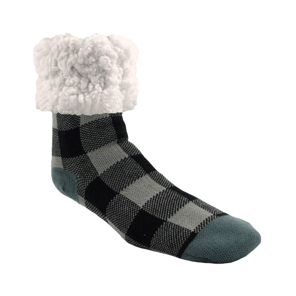 Pudus Cozy Winter Slipper Socks Women & Men w Non-Slip Grippers Faux Fur Sherpa Classics Large Lumberjack Grey