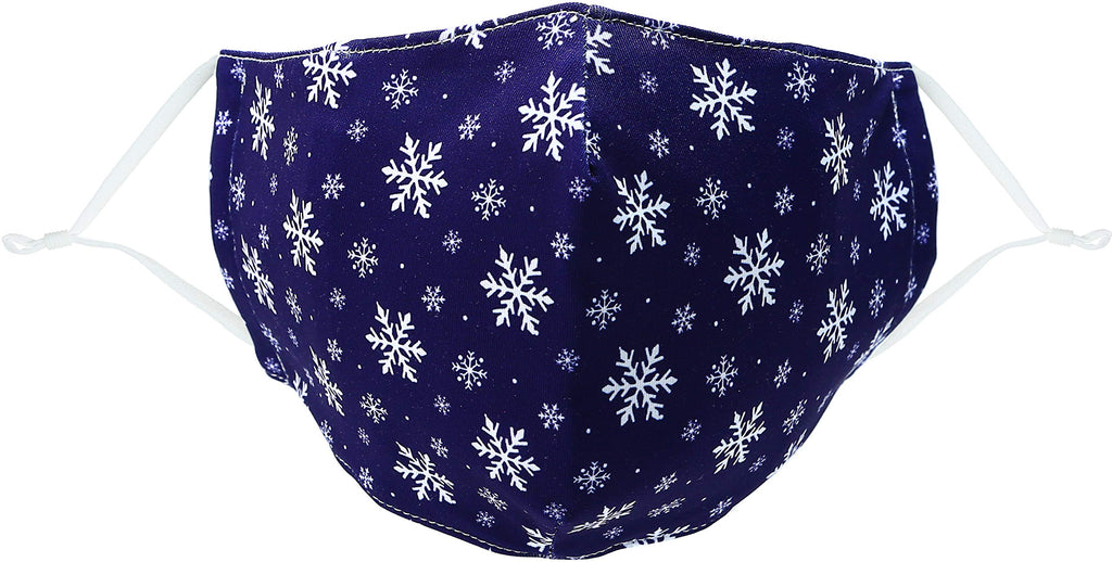 Pavilion - Blue Winter Chistmas Holiday Snowflake - Adult/Teen - Cotton & Polyester Reusable Fabric Face Mask with Filter Pocket
