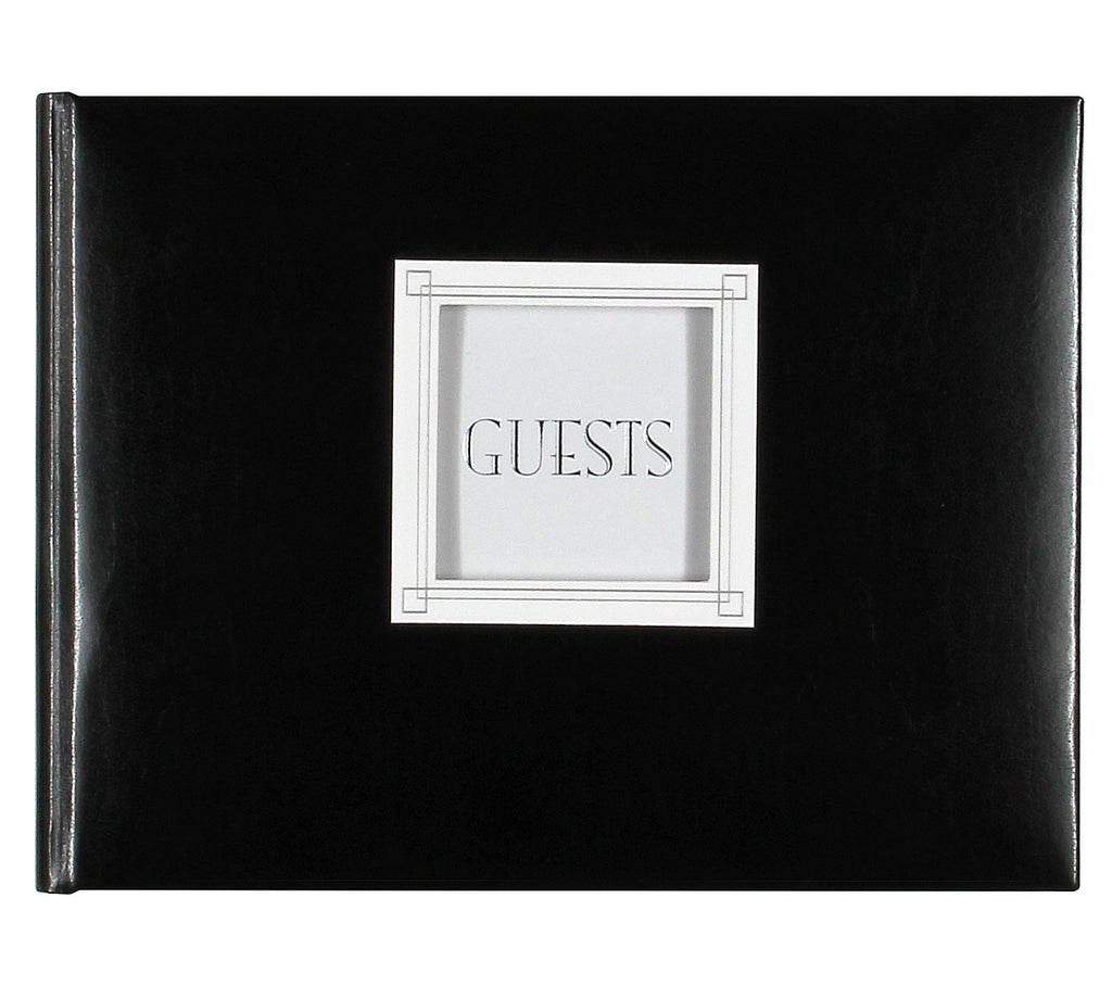 "C.R. Gibson Customizable Guest Book, Die-Cut Window For Photos, Measure 9"" x 7"" - Black Leather"