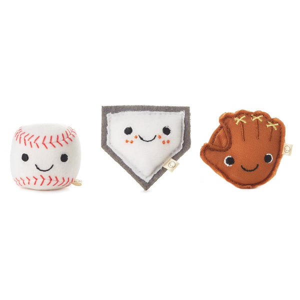 Hallmark Happy Go Luckys Ballpark Buds Mini Stuffed Animals, Set of 3