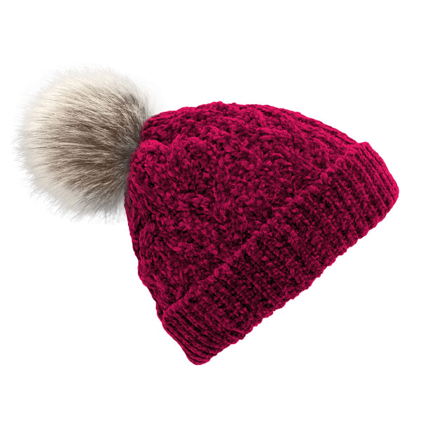 Pudus Women's Winter Beanie Hat with Faux Fur Pom Pom - Cable Knitted Chenille and Fleece Lined Slouchy Beanie Chenille Raspberry