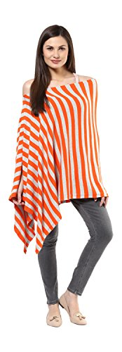 Darzi Modern Stripe Poncho (Paprika and Vanilla Grey)