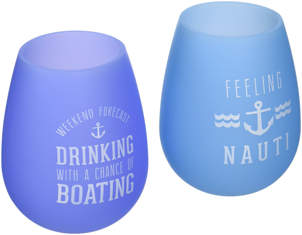 Pavilion Gift Company We People The Boat Life Purple and Blue Silicone Wine Glass Set