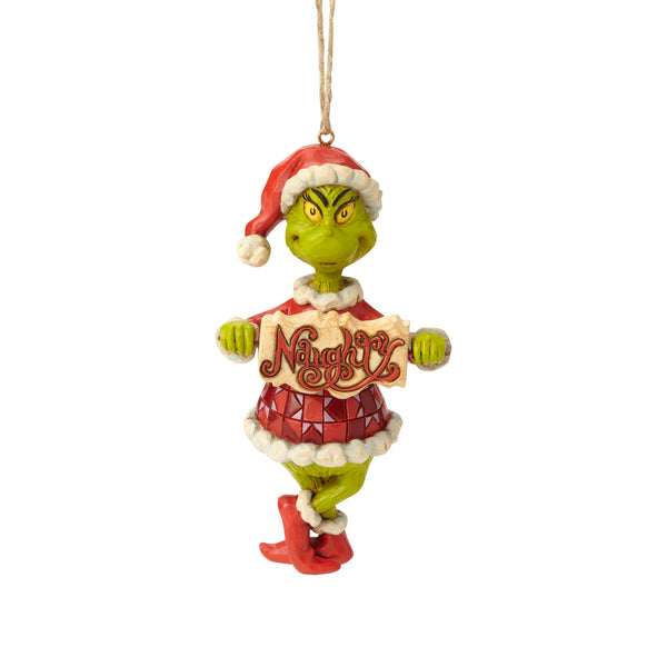 Jim Shore Grinch with Naughty/Nice Sign Hanging Ornament