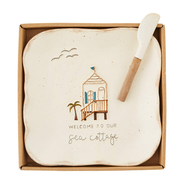 "Mud Pie Icon Boxed Cheese Set, plate 8 1/2"" x 8 1/2"" 