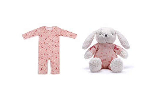 Demdaco Baby Love You to The Moon & Back Bunny & Pajama Gift Set, Pink