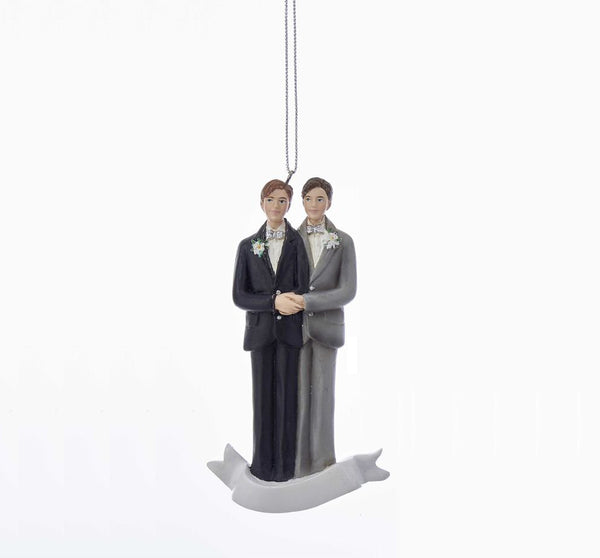 Kurt Adler Groom/Groom Wedding Couple Ornament, 4.25""