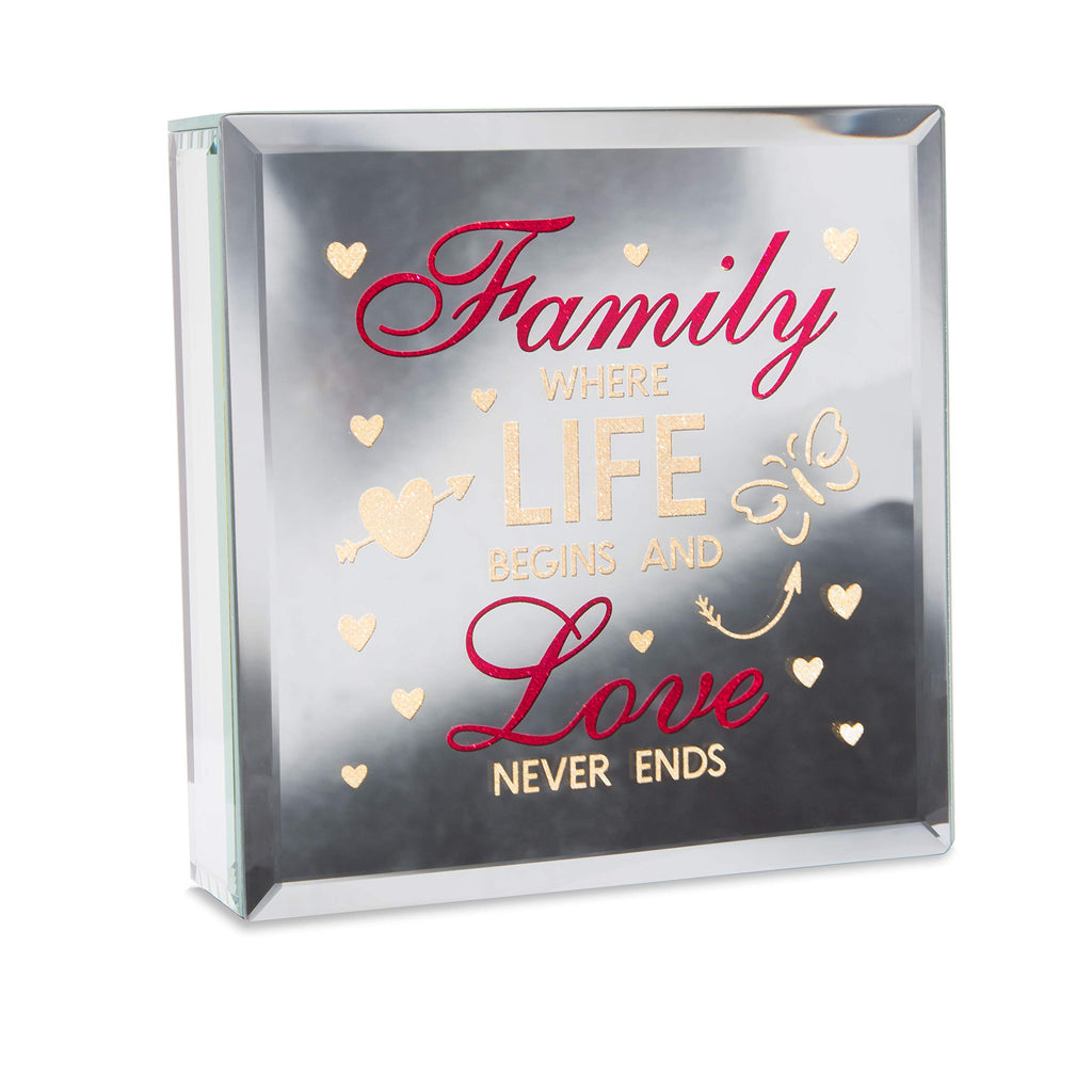Pavilion - Family Where Life Begins and Love Never Ends - 6x6 Inch Mirror Light Up Plaque - AA Batteries Required - Not Included