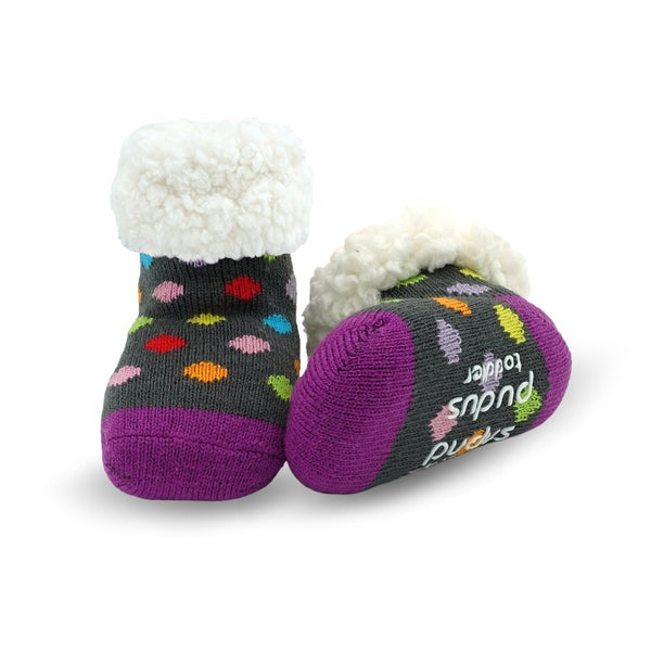 Pudus Cozy Kids & Toddler Slipper Socks with Non-Slip Grippers & Warm Fleece Lining Polka Multi Dots