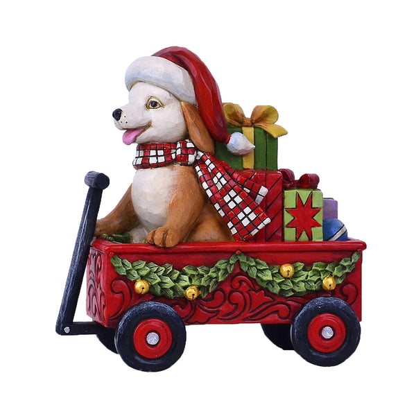 Enesco Country Living by Jim Shore Christmas Dog in Wagon Figurine