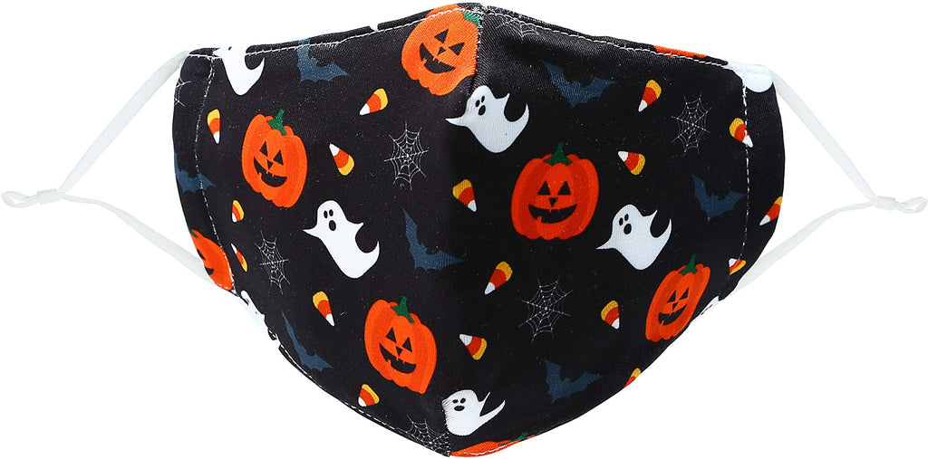 Pavilion - Ghost Pumpkin Bat Spider Web Candy Corn Halloween Fall - Kids 6+ - Cotton & Polyester Reusable Fabric Face Mask with Filter Pocket
