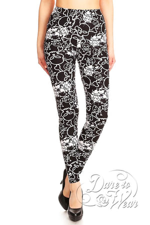 Dare to Wear Victorian Gothic Steampunk Peached Leggings in Nokidoki Skulls