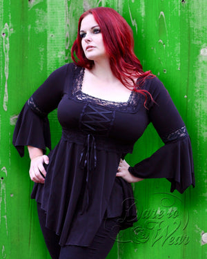 Dare Fashion Renaissance Top F05 Black EvGrnWd Victorian Gothic Corset Blouse