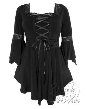 Dare Fashion Renaissance Top F05 Black Victorian Gothic Corset Blouse