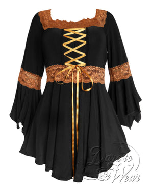 Dare Fashion Renaissance Top F05 BlackGold Victorian Gothic Corset Blouse