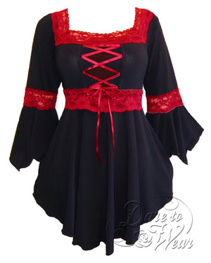 Dare Fashion Renaissance Top F05 BlackRed Victorian Gothic Corset Blouse