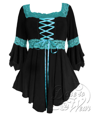 Dare to Wear Victorian Gothic Steampunk Renaissance Corset Top in Black/Turquoise