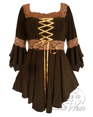 Dare Fashion Renaissance Top F05 BrownGold2 Victorian Gothic Corset Blouse